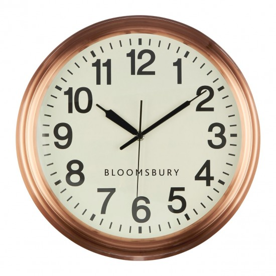 Bloomsbury Copper Finish Metal White Face Black Numbers Retro Style Wall Clock