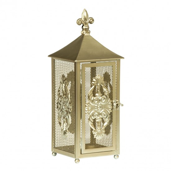 Marina Gold Metal Distressed Finish Grilled Sides Lantern