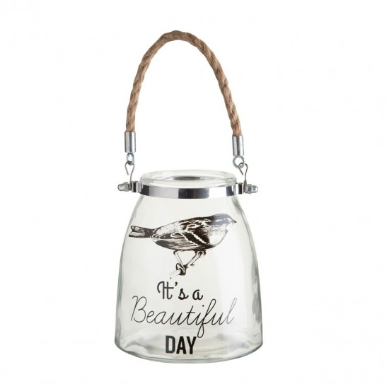 Beautiful Day Clear Glass Rope Handle Lantern