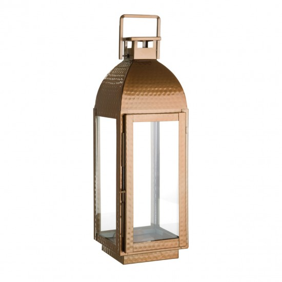 Harringbone Copper Finish Glass and Stainless Steel Small Lantern