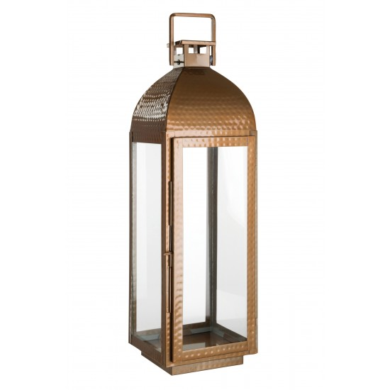 Harringbone Copper Finish Glass and Stainless Steel Large Lantern