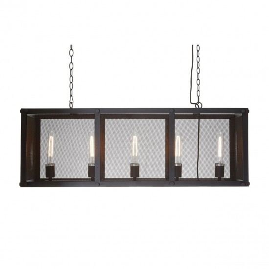 Aaron Black Iron Gauze Pendant Light