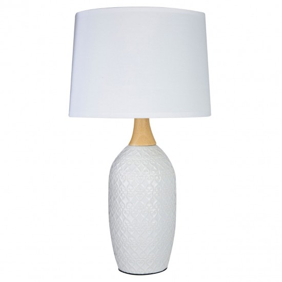 Willow White Ceramic Tall Table Lamp