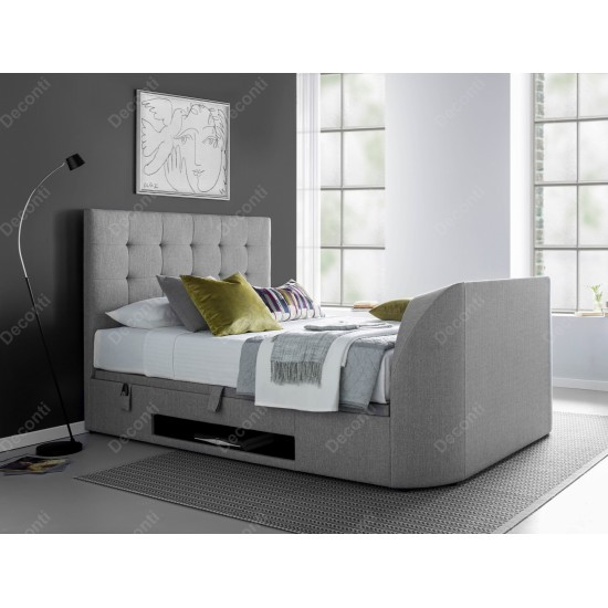 Barnard Grey Fabric TV Bed Ottoman Storage Side Lift Double Super King Sizes