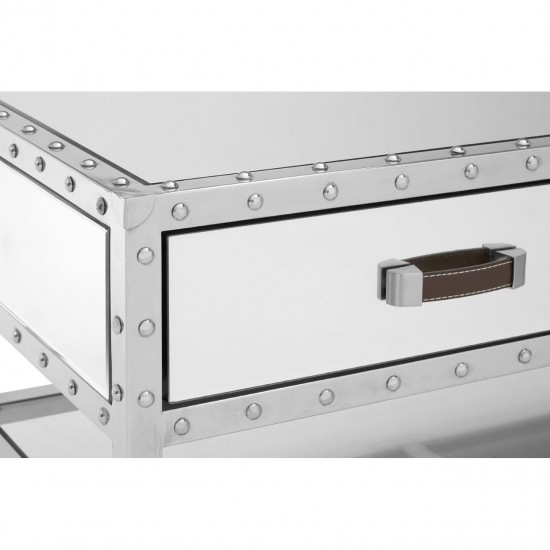 Rocca Silver Mirrored Glass Stainless Steel 2 Drawers Coffee Table