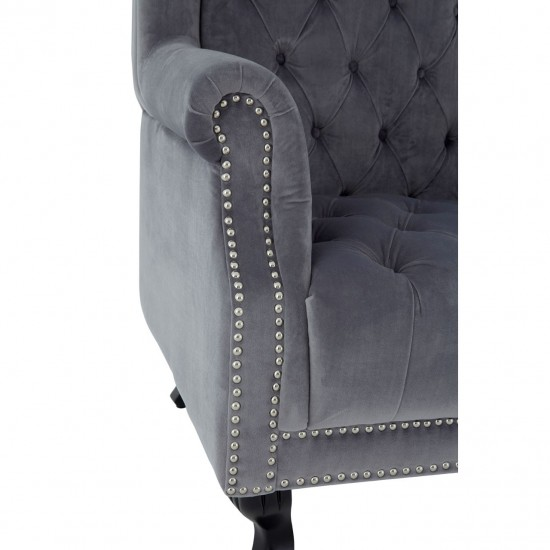 Hyde Tall Grey Velvet Tufted Buttoned Seat Winged High Back Porter Chair
