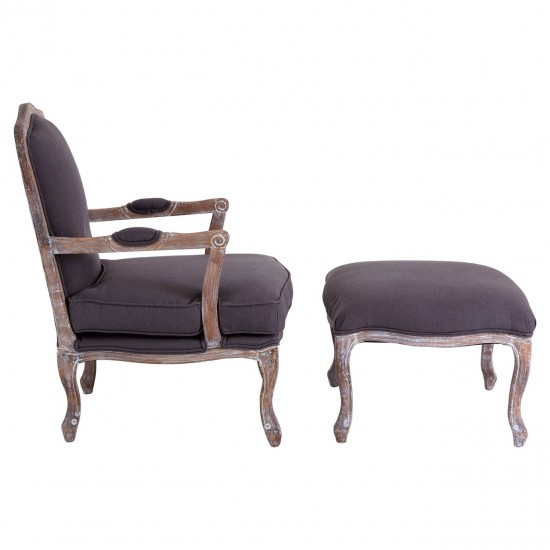 Chic Grey Linen Mix Wooden Legs Armchair and Footstool