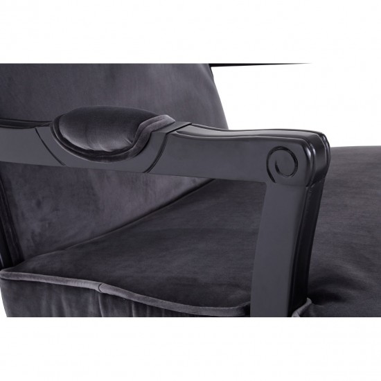 Chic Grey Velvet Black Wooden Legs Armchair and Footstool