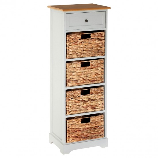 Marti Grey Tallboy Chest of 1 Wood and 4 Wicker Basket Drawers