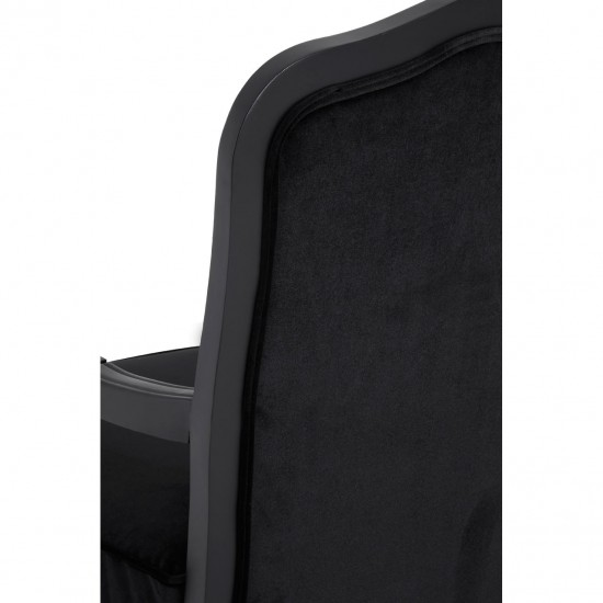Chic Black Shiny Velvet Curved Armchair and Footstool