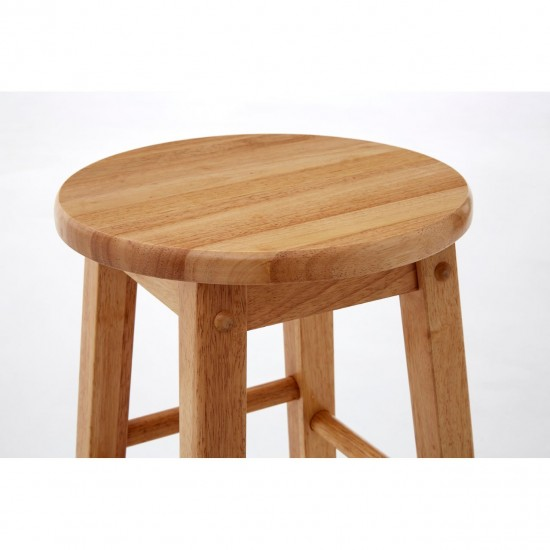 Kelko Natural Wooden Sturdy and Stable Bar Stool