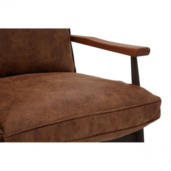Century Brown Faux Leather 2 Seater Sofa