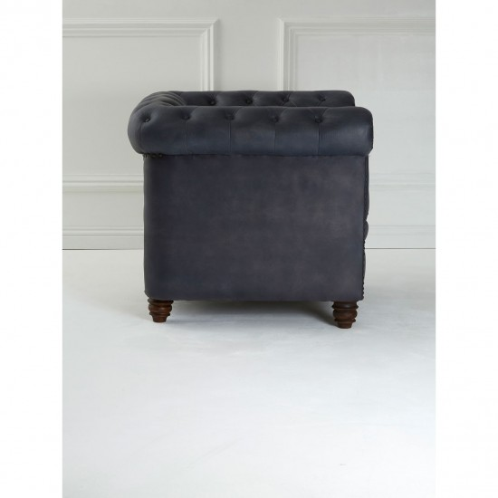 Montana Blue Leather Armchair