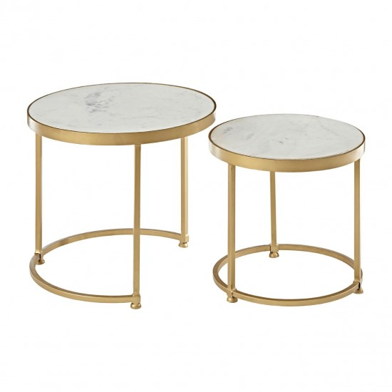 Marene Gold Round Nest of 2 Tables
