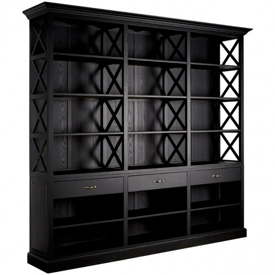 Omann Black Bookcase with 3 Drawers