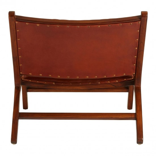 Gina Brown Leather Angled Chair