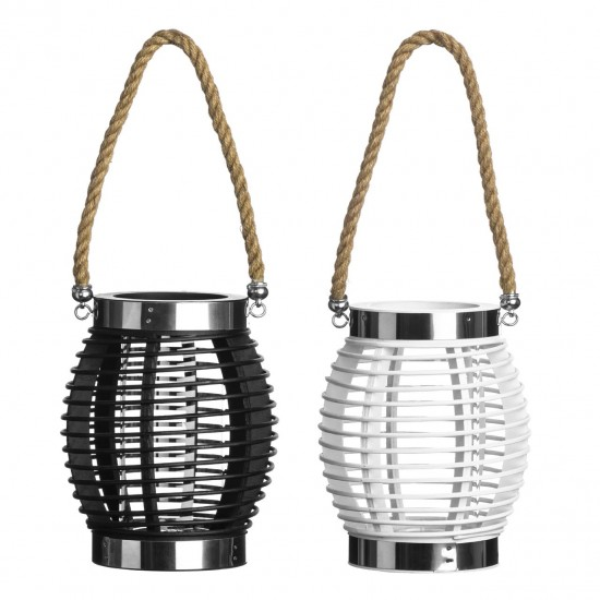 Oliver Black Small Glass Basket Lantern with Rope Handle
