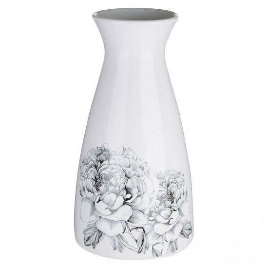 Bloom White and Black Tall Floral Detail Dolomite Vase