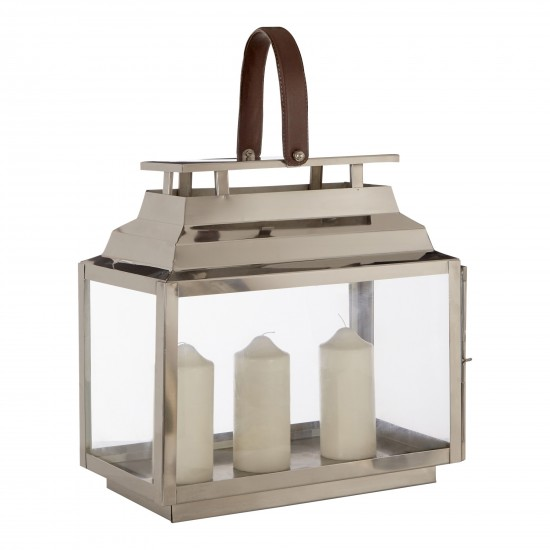 Harringbone Silver Glass Stainless Steel Lantern with Faux Leather Handle