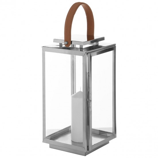 Harringbone Silver Glass Stainless Steel Tall Lantern with Faux Leather Handle
