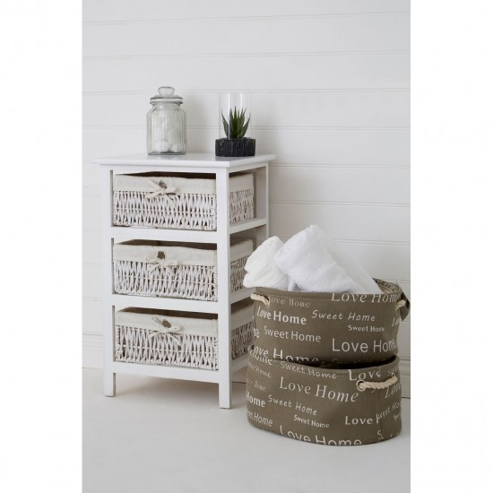 English Words Natural Canvas Oval Set of 3 Storage Hampers