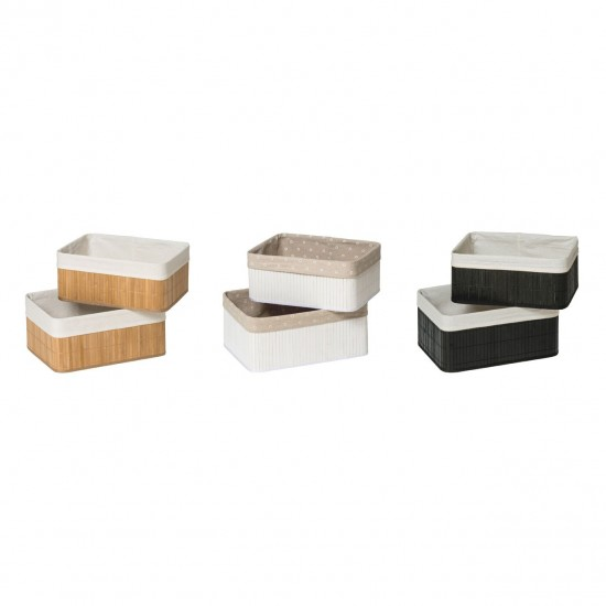 Dexter Natural Bamboo White Cotton Lining Set of 2 Storage Boxes
