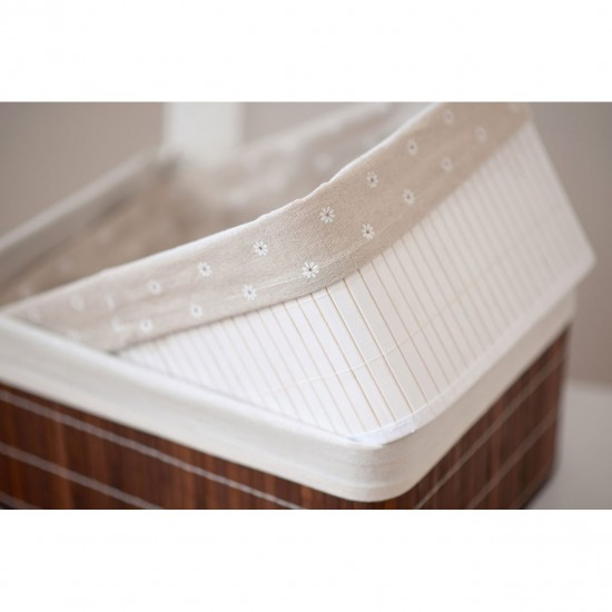 Dexter White Bamboo Cotton Lining Set of 2 Storage Boxes
