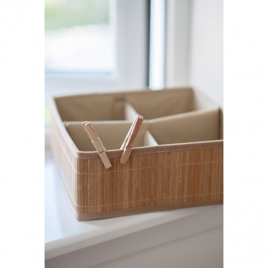 Dexter Natural Bamboo Cotton Lining 4 Section Storage Box