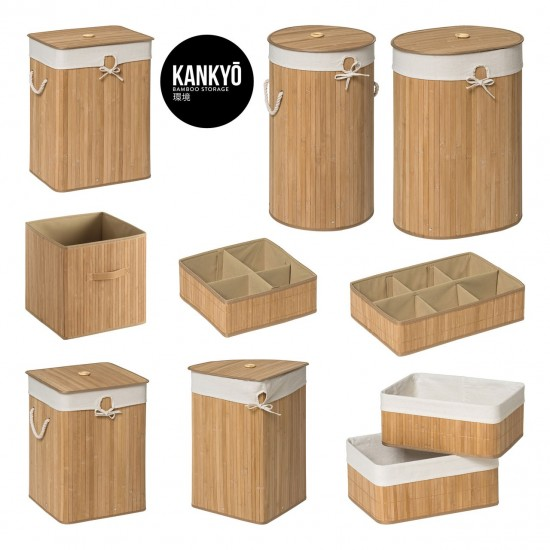 Dexter Natural Bamboo Cotton Lining Faux Leather Handles Storage Box