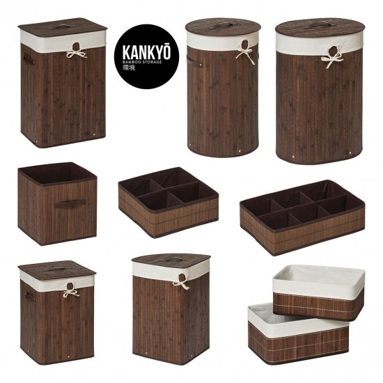 Dexter Brown Bamboo Cotton Lining Faux Leather Handles Storage Box