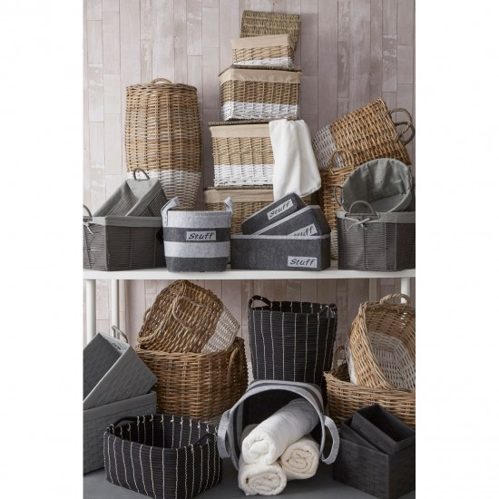 Amber Grey Rectangular Lattice Non Woven Fabric Set of 3 Storage Baskets