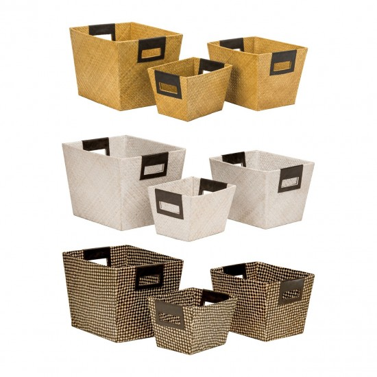 Grapes Black Natural Pandanus Set of 3 Storage Baskets