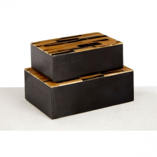 Rova Black with Gold Lids Handcrafted Set of 2 Trinket Boxes