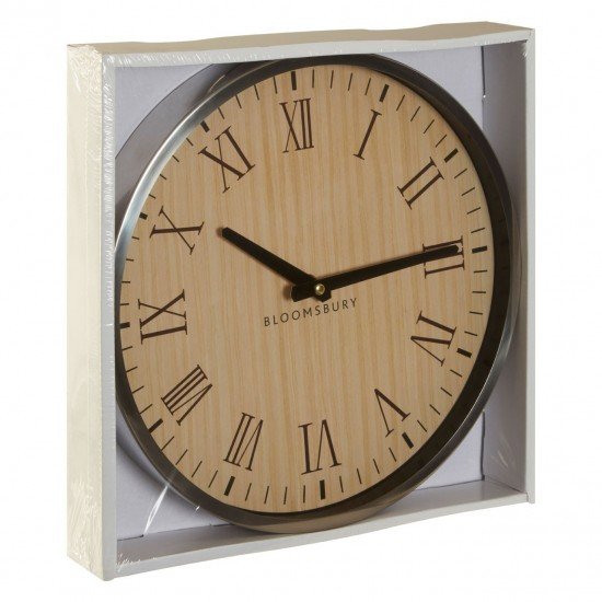 Hunter Silver Stainless Steel Roman Numeral Slim Black Handles Wall Clock