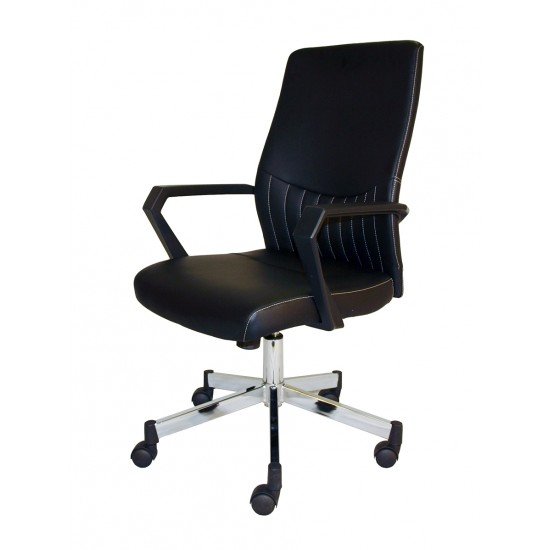 Boston Black Faux Leather Office Chair Low Back