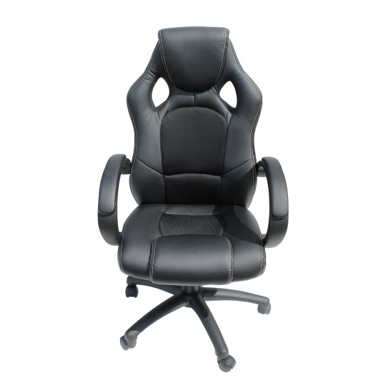 Grenada Black Faux Leather Racing Office Chair