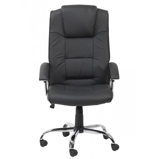 Syrox Black Leather Executive Office Chair High Back