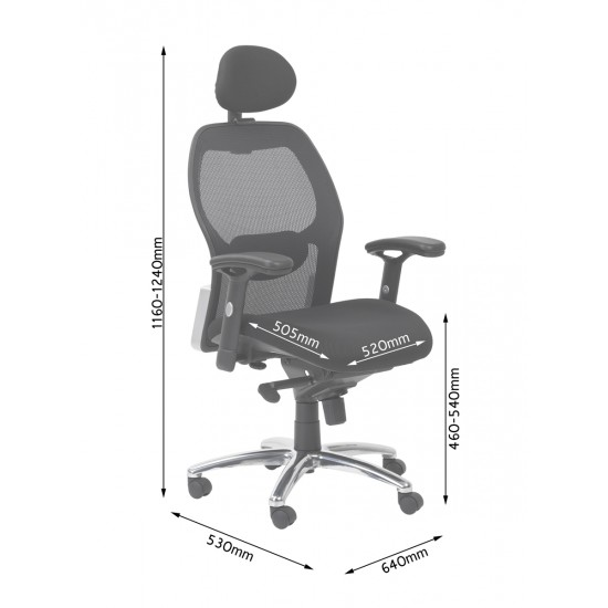 Warren Black Mesh Back Office Chair Fully Adjustable