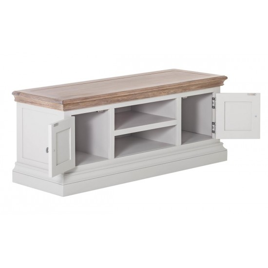 Hershel Two-Tone Chalked Oak Top Grey 2 Door 1 Shelf TV Stand