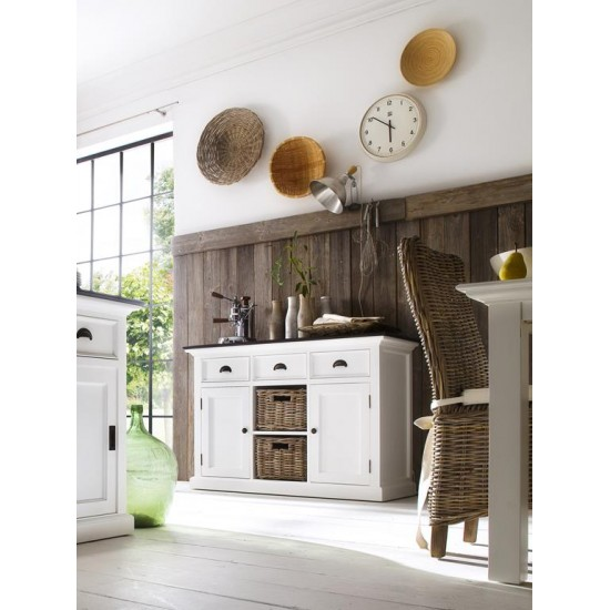 Cannes Contrast White Sideboard 2 Rattan Baskets