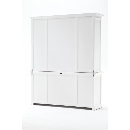 Cannes White Glazed Display Cabinet with Rattan Baskets