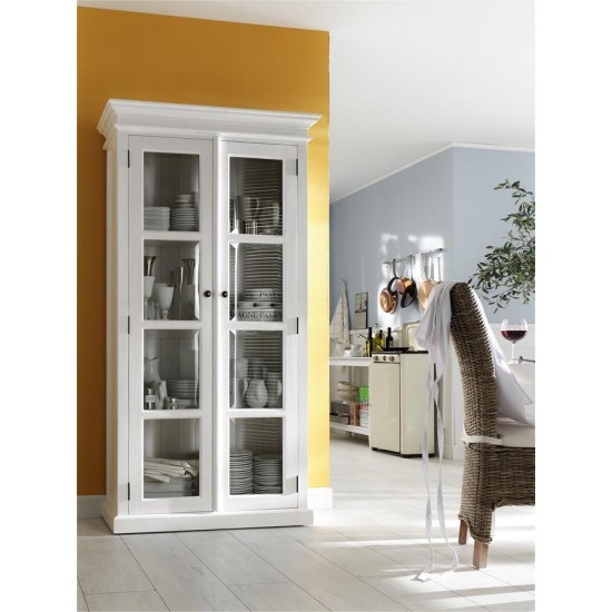 Cannes White Glazed Double Display Cabinet