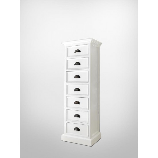 Cannes White Tallboy Chest of 7 Drawers