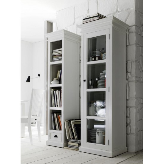 Cannes White Glazed Single Display Cabinet