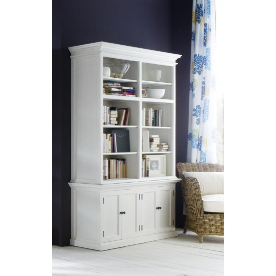 Cannes White Double Display Cabinet Buffet Hutch 4 Doors