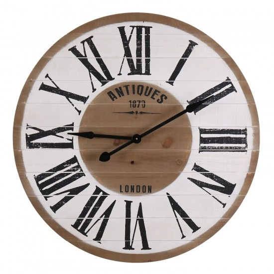 Antiques 1870 London White Round Wooden Roman Numerals Wall Clock